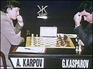 Karpov e Kasparov em 1991