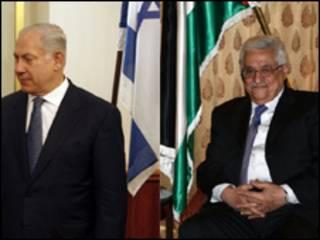 El primer ministro israelí, Benjamin Netanyahu, y el presidente de la ANP, Mahmoud Abbas