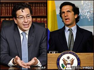 Fander Falconí, canciller de Ecuador, y Jaime Bermúdez, canciller de Colombia
