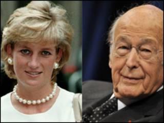 La princesa Diana de Gales y el ex presidente francés Valery Giscard d'Estaing