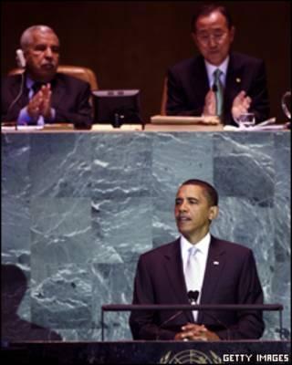 O presidente americano, Barack Obama, fala na reunião da ONU sobre o clima