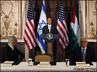 أوباما وعباس ونتنياهو