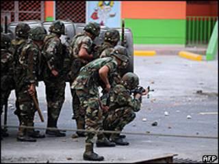 Soldados em Tegucigalpa