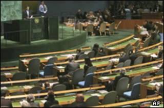 محمود احمدی نژاد هنگام نطق در مجمع عمومی