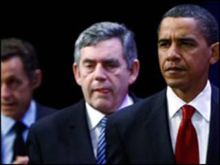 اوباما وبراون وساركوزي