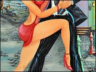 Dibujo de tango en Buenos Aires