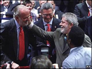 Rey Juan Carlos de España y Lula de Brasil en Copenhague