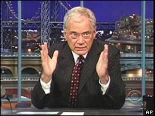 Imagem do talk-show de David Letterman na rede de televisão CBS
