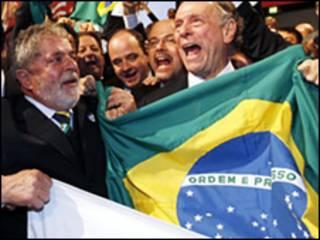 Comitê brasileiro no anúncio da cidade-sede em Copenhague