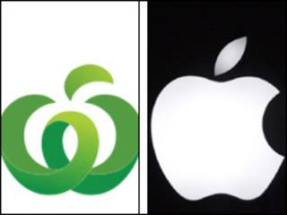 Logo de Woolworths y de Apple