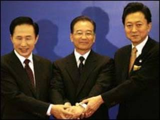 Lee Myung-bak, Ôn Gia Bảo và Yukio Hatoyama tại Bắc Kinh