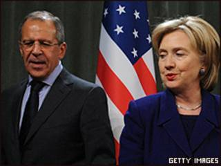 Hillary Clinton, secretaria de Estado de EE.UU. y Sergei Lavrov, canciller de Rusia