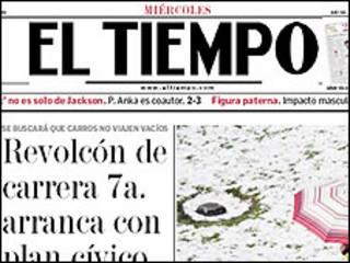 """Portada de diario """"El Tiempo"""""""