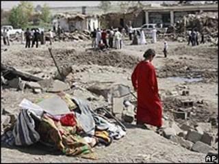 آثار تفجير في بلدة قرب الموصل