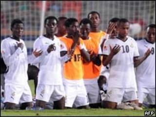 فريق غانا بعد الفوز على المجر