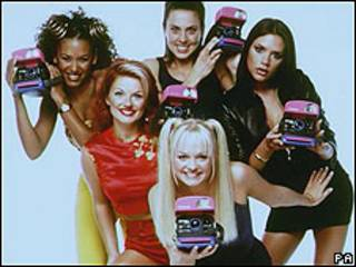 The Spice Girls promoting their SpiceCam Polaroid camera