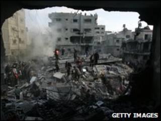 مبنى مدمر في غزة