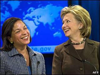 La embajadora de EE.UU. ante la ONU, Susan Rice, y la secretaria de Estado de EE.UU., Hillary Clinton