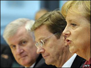 Horst Seehofer, Guido Westerwelle y Angela Merkel