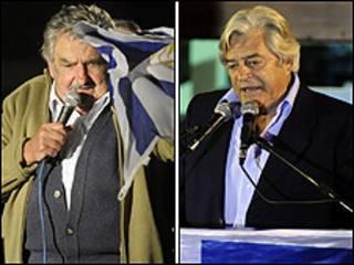 Mujica (esq) e Lacalle