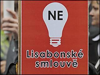 لافتة تشيكية معارضة لاتفاقية لشبونة