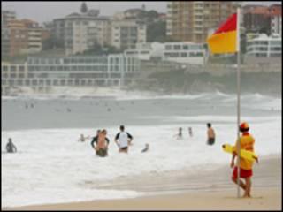 Praia de Bondi em Sydney, Austrália