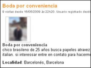 Anúncio em site espanhol