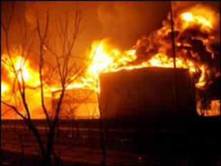 तेल की डिपो में आग
