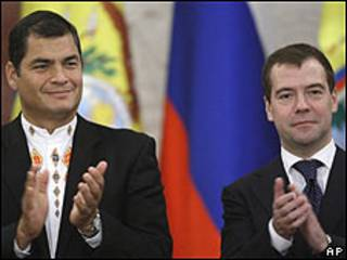 Rafael Correa y Dmitry Medvedev