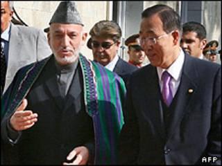 Hamid Karzai y Ban Ki Moon
