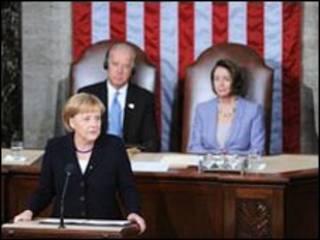 ميركل في الكونجرس