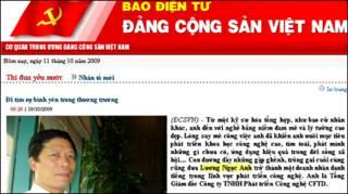 Ông Lương Ngọc Anh từng được ca ngợi trên báo Đảng CSVN