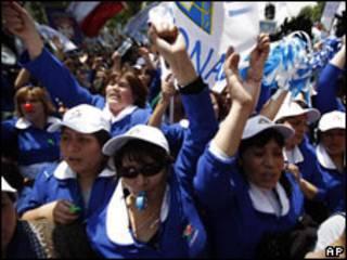 Protesta de empleados públicos chilenos (foto archivo)