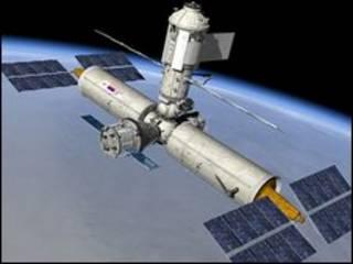 رسم يتخيل كيف ستكون عليه محطة فضائية بوحدات روسية