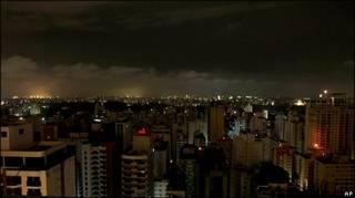 Vista geral de São Paulo durante o apagão