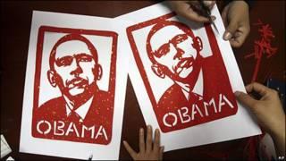Imágenes de Barack Obama hechas por unas escolares chinas en Pekín