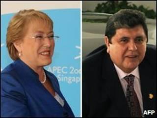 Michelle Bachelet y Alan Garcia en la cumbre de la APEC