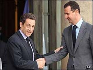 بشار اسد و نیکولا سارکوزی