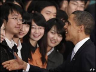 Барак Обама встречается с китайской молодежью