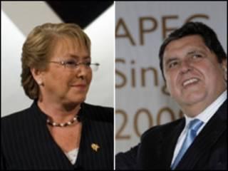 El presidente de Perú, Alan García y su homóloga chilena, Michelle