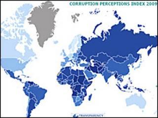 Так, за даними Трансперенсі Інтернешнл, сприймають у світі рівні корупції: чи темніше - тим більше