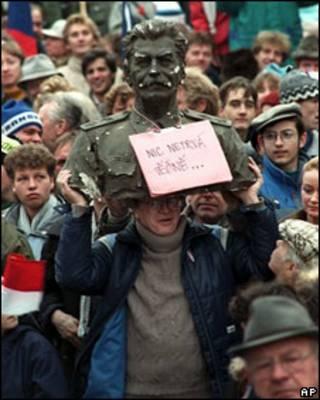 Manifestación en Praga en 1989