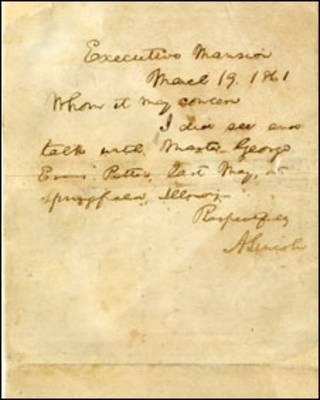 Carta de Abraham Lincoln a George Patten. Foto AP/ The Raab Collection