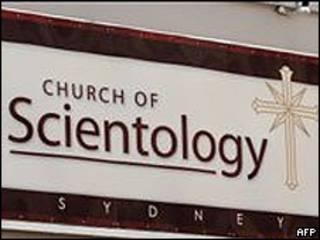 Cartel de una iglesia de la Cienciología en Sidney, Australia