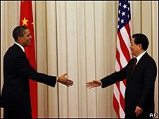 O presidente dos EUA, Barack Obama e o líder chinês, Hu Jintao