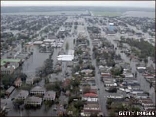 La ciudad de Nueva Orleans inundada en 2005