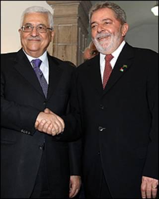 O presidente palestino, Mahmoud Abbas (esq.) e Luiz Inácio Lula da Silva em Salvador (Foto: Ricardo Stuckert/PR)