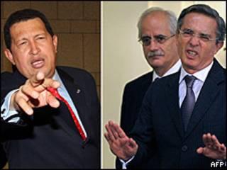 Hugo Chávez y Álvaro Uribe