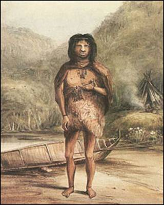 Acuarela de un fueguista hecha en la época en que Darwin llegó a Tierra del Fuego.
