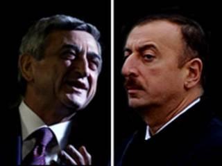 Президенты Армении (слева) и Азербайджана